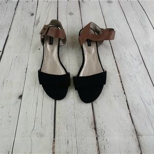 Array Sammy Black and Brown Wedge Sandal Size 8